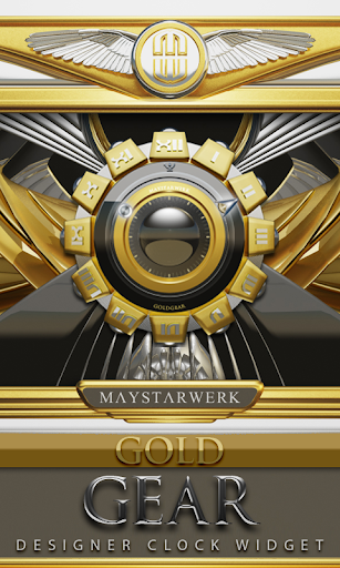 Clock Widget Gold Gear