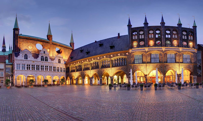 Town hall square in Lübeck, Germany.