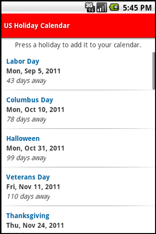 US Holiday Calendar - screenshot