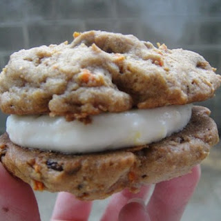 Carrot Cake Whoopie Pies with Orange Cream Cheese Filling.