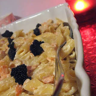 Pennette Pasta with Salmon and Caviar.