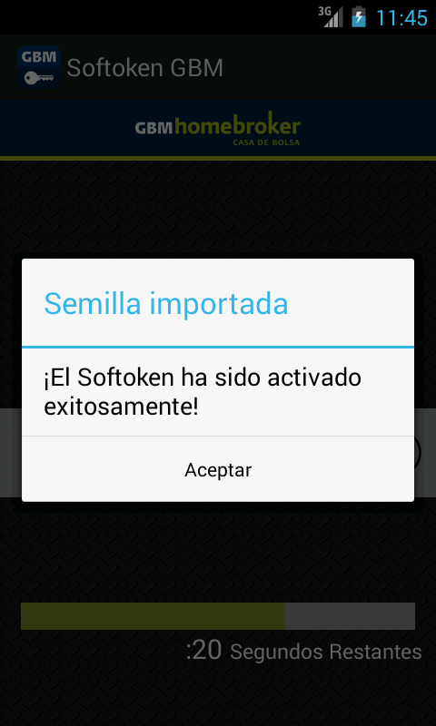 GBM SoftToken: captura de pantalla