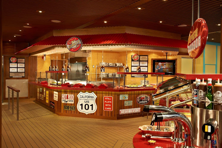 Stop by Guy's Burger Joint for classic burger goodness when you sail on Carnival Breeze.