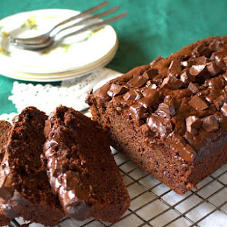Double Chocolate Chunk Courgette Loaf Cake.