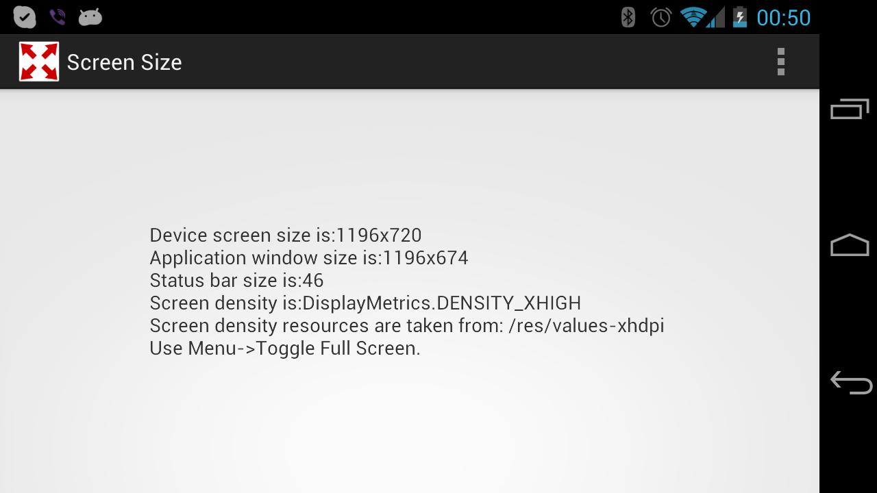 Screen Size and Density - screenshot