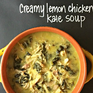 Crockpot Creamy Lemon Chicken Kale Soup