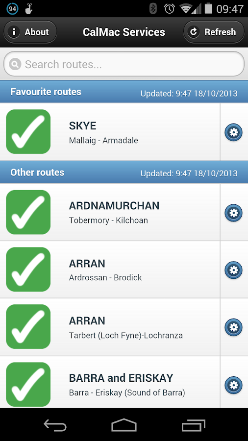 CalMac Status - screenshot