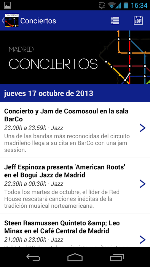 Conciertos Madrid- screenshot