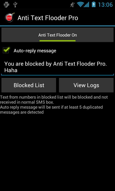 Anti Text Bomb, Text Spam - screenshot