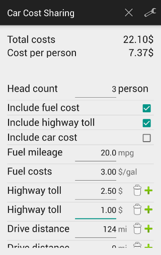 Car Cost Sharing Calculator