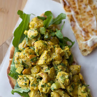 Sweet & Lightly Spicy Curried Chicken Salad Sandwich with Roasted Cashews and Golden Raisins, on Toasted Tandoori Naan.