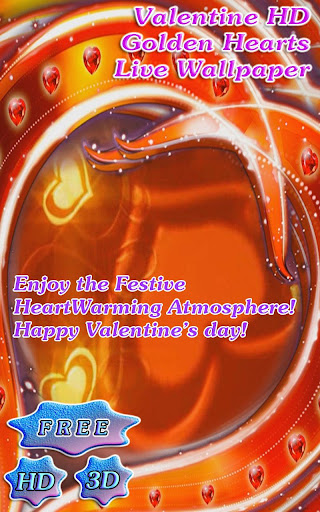3D Valentine Golden Heart Free