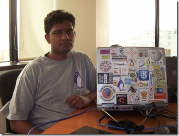 g karunakar with world's most stickered laptop (Small)