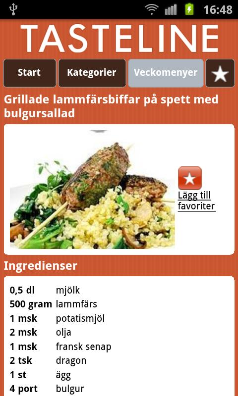 Tasteline Recept - screenshot