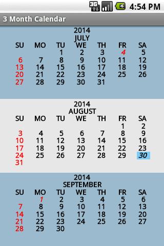 three month calendar