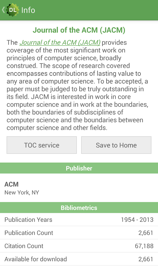 ACM Digital Library- screenshot