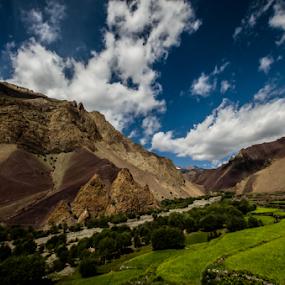 Mesmerizing Meadows  (Stok Kangri Trek Trail, Leh Ladakh, , India by Sam's 1 Shot - Landscapes Mountains & Hills ( clouds, mountain trail, mountains, riverside, greenery,  )