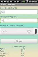 Screenshot of Insulin Calculator