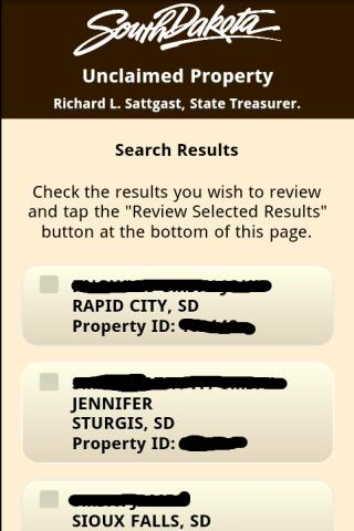 SD Unclaimed Property Search - screenshot