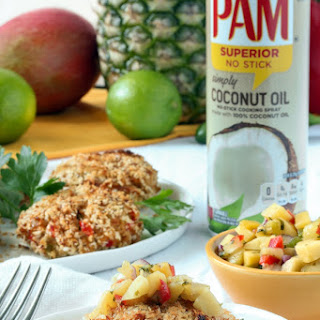 Crab Cakes with Pineapple-Mango Salsa.