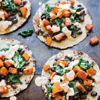Roasted Butternut Squash, Spinach & Black Bean Tacos