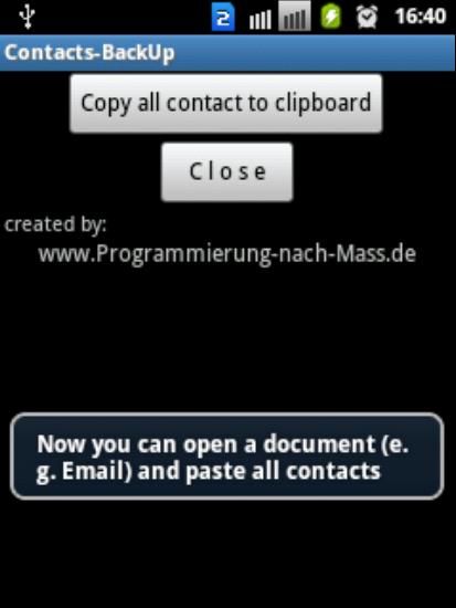 Záloha kontaktů v text. podobě- screenshot