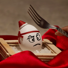 One angry egg ready for a fight by Amitabh Mukherjee - Artistic Objects Still Life ( fork, red, creative, white, artistic, angry, quilling, egg )