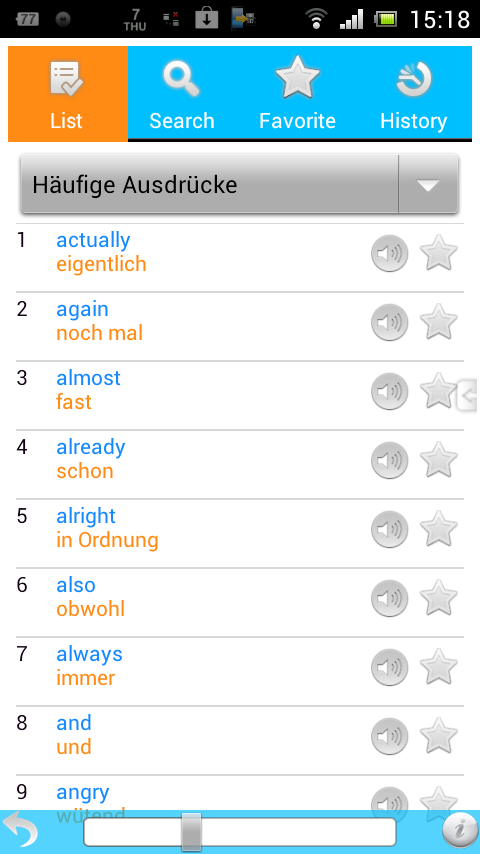 1500 English - German Words - screenshot