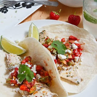 Mojito Grilled Fish Tacos with Strawberry Salsa.