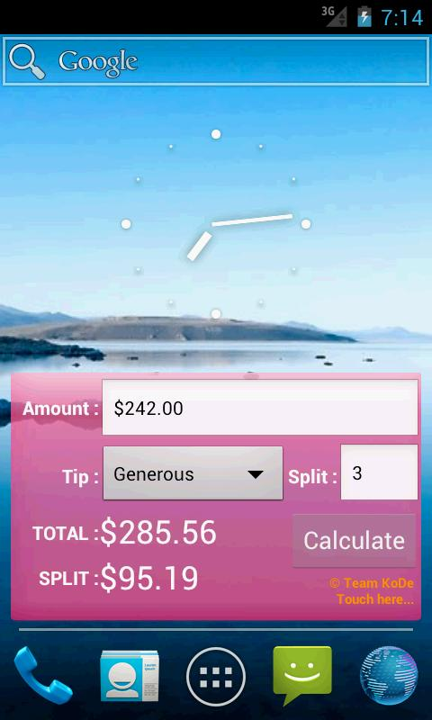 Tip Calculator Widget - screenshot