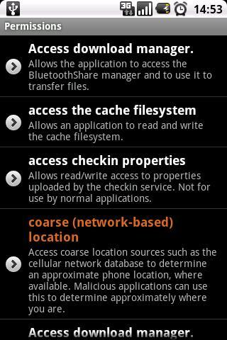 Permissions - screenshot