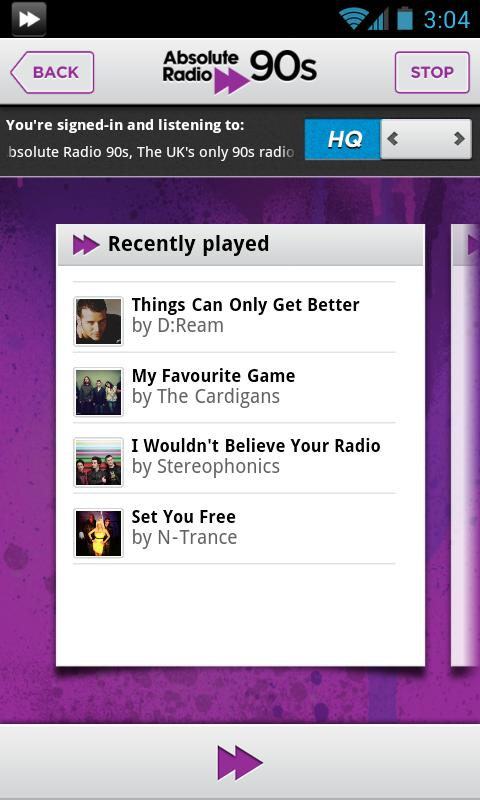 Absolute Radio 90s - screenshot