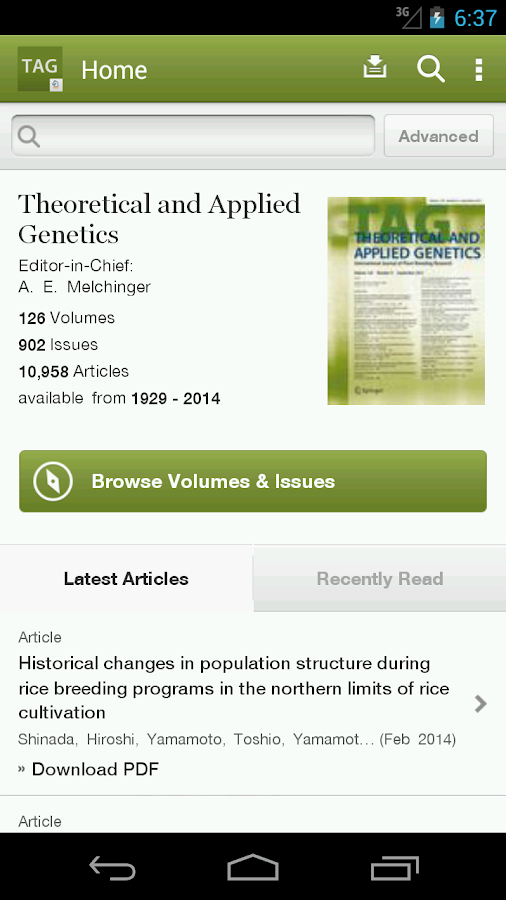 Theoretical & Applied Genetics- screenshot