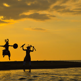 caci dance in the beach by Rinal Dino - Uncategorized All Uncategorized ( sunset, traditional, beach, landscape, people )