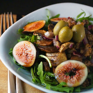 Fresh Fig, Walnut & Mushroom Salad with a Carob & Balsamic Dressing.