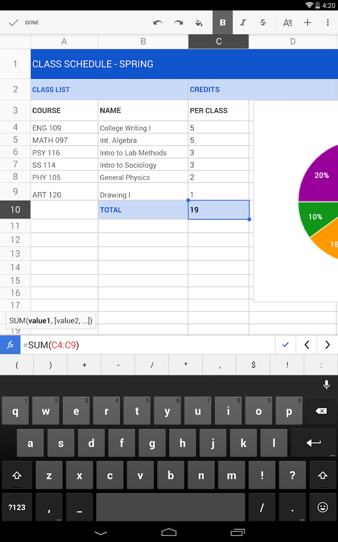Google Sheets Android 5