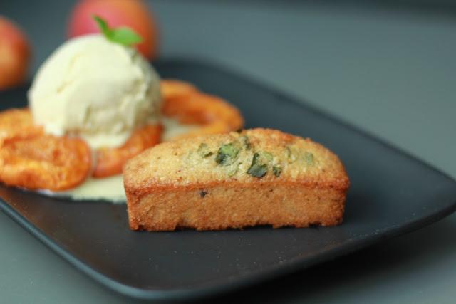 Hazelnut Basil Financiers with apricot Compote and vanilla ice cream