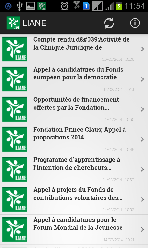 Projet LIANE (version ICS)- screenshot