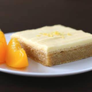 Healthy Lemony Peach Blondies with Peach Frosting (gluten free, vegan).