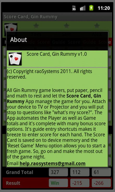 Score Card, Gin Rummy - screenshot