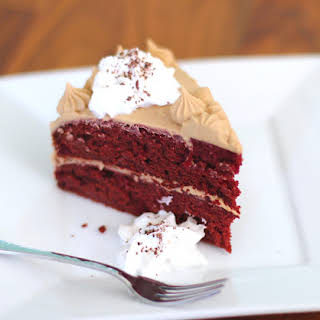 Healthy Red Velvet Cake with a Special Vanilla Protein Frosting.