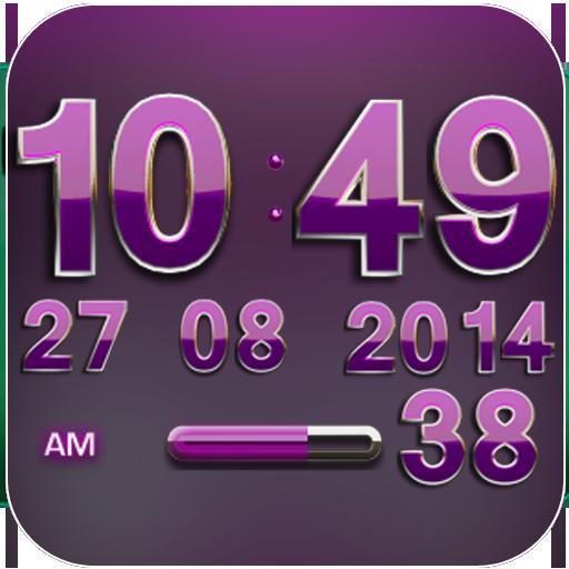 Digi Clock Widget Pink Gear