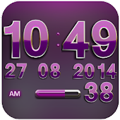 Digi Clock Widget Pink Gear