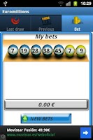 Screenshot of Euromillions