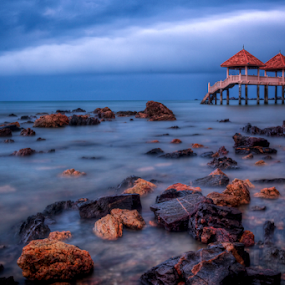 Beach at Tanjung Balau by Hafiz Hj Ismail - Landscapes Beaches ( serenity, rock, jetty, seascape, beach, morning )