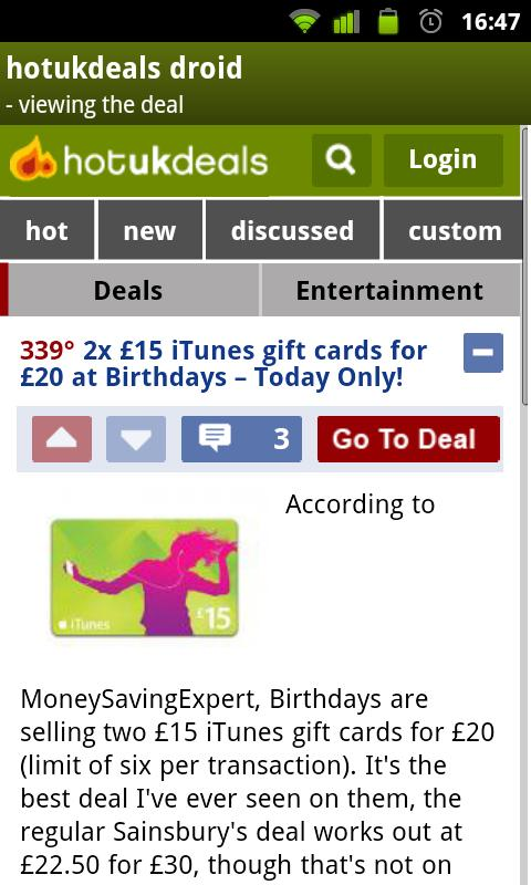 HotUKDeals DROID - screenshot