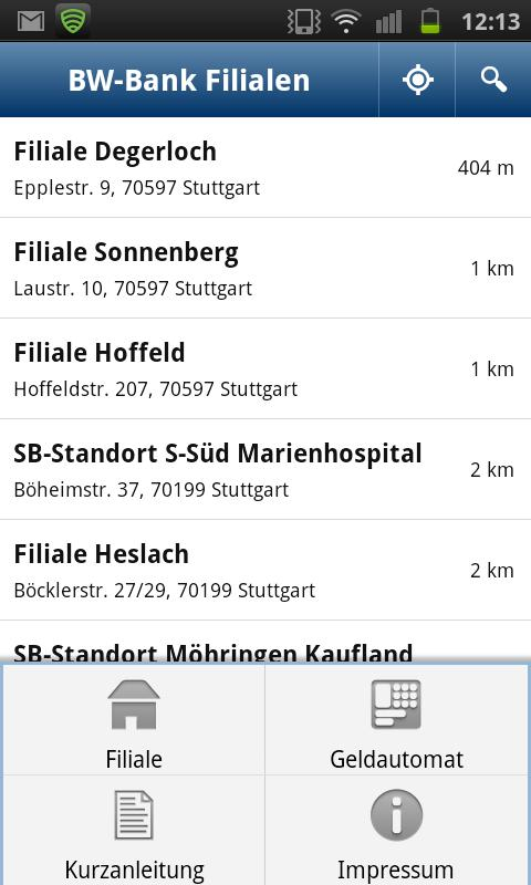 BW-Bank Filialfinder - screenshot