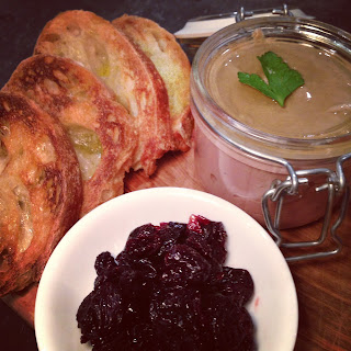 Chicken Liver Mousse with Port Braised Cherries.
