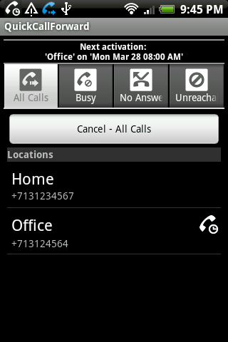 QuickCallForward- screenshot