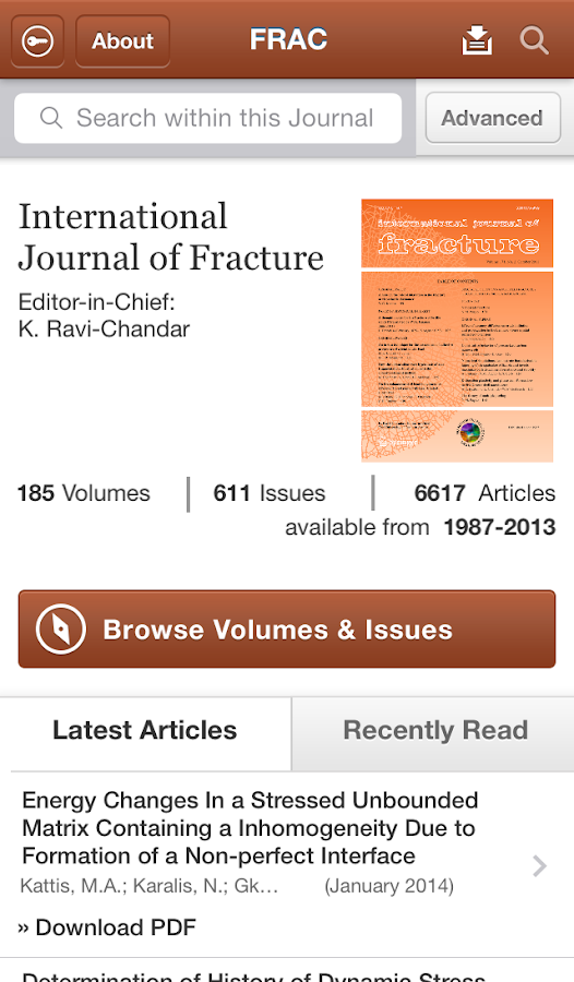 Intl Journal of Fracture - screenshot